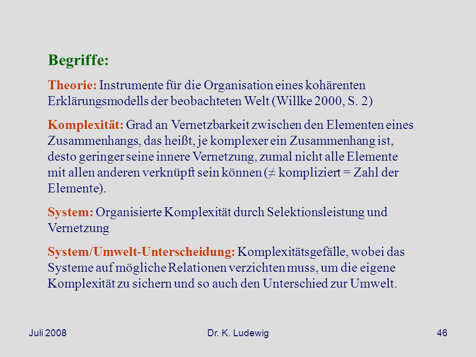 Juli 2008Dr. K. Ludewig46 Begriffe: Theorie: Instrumente für die Organisation eines kohärenten Erklärungsmodells der beobachteten Welt (Willke 2000, S