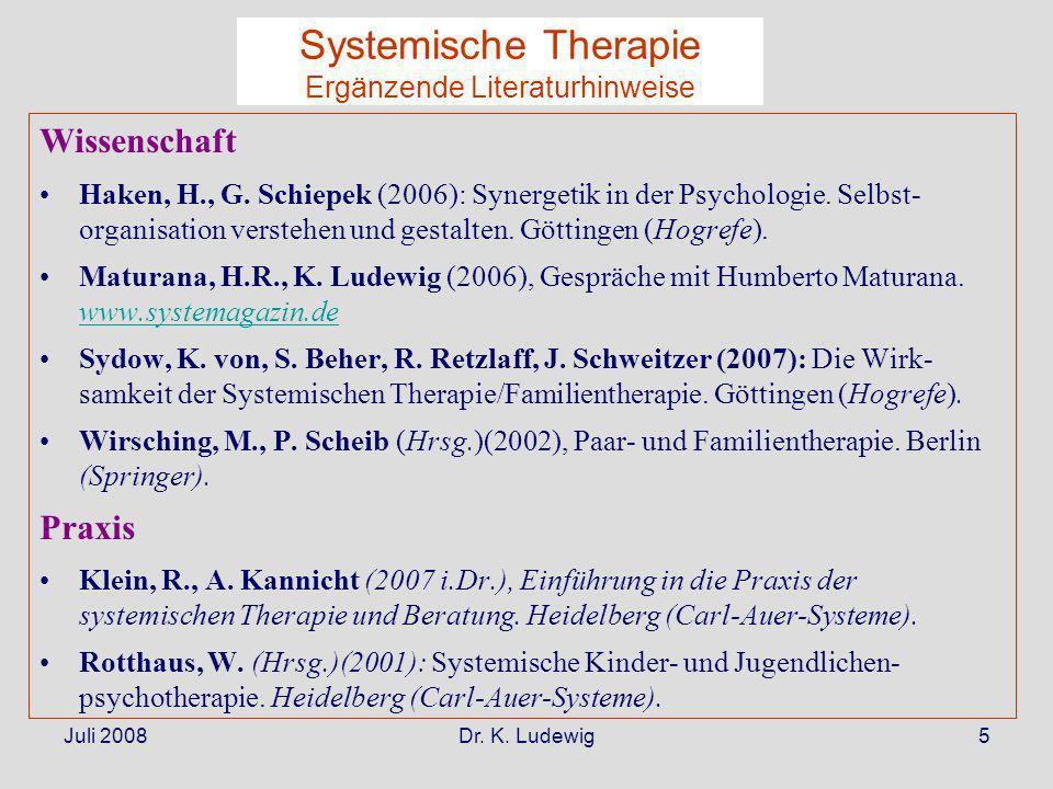 Juli 2008Dr. K. Ludewig5 Wissenschaft Haken, H., G. Schiepek (2006): Synergetik in der Psychologie. Selbst- organisation verstehen und gestalten. Gött