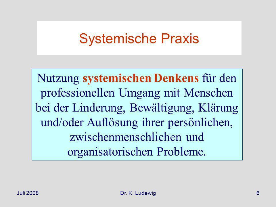 Juli 2008Dr. K. Ludewig6 Systemische Praxis Nutzung systemischen Denkens für den professionellen Umgang mit Menschen bei der Linderung, Bewältigung, K