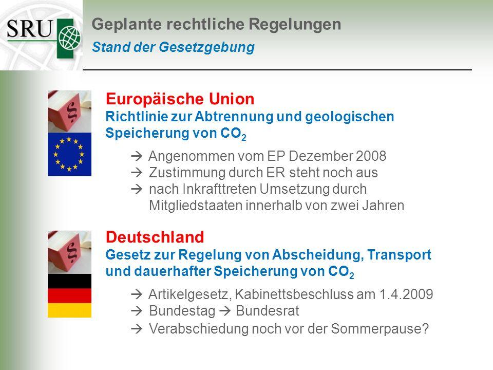 Stand der Gesetzgebung Geplante rechtliche Regelungen Europäische Union Richtlinie zur Abtrennung und geologischen Speicherung von CO 2 Angenommen vom