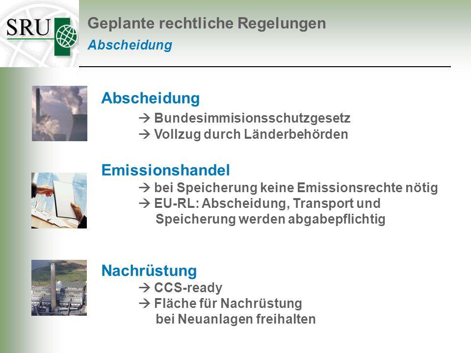 Abscheidung Bundesimmisionsschutzgesetz Vollzug durch Länderbehörden Emissionshandel bei Speicherung keine Emissionsrechte nötig EU-RL: Abscheidung, T