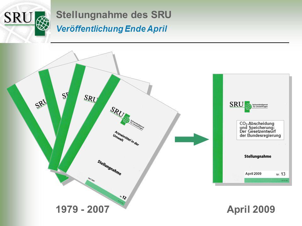 Empfehlungen Stellungnahme des SRU Unsicherheiten besser erforschen Speicherkapazitäten in Deutschland Sicherheit, ökologische Risiken der Speicher SRU – Stellungnahme Nr.