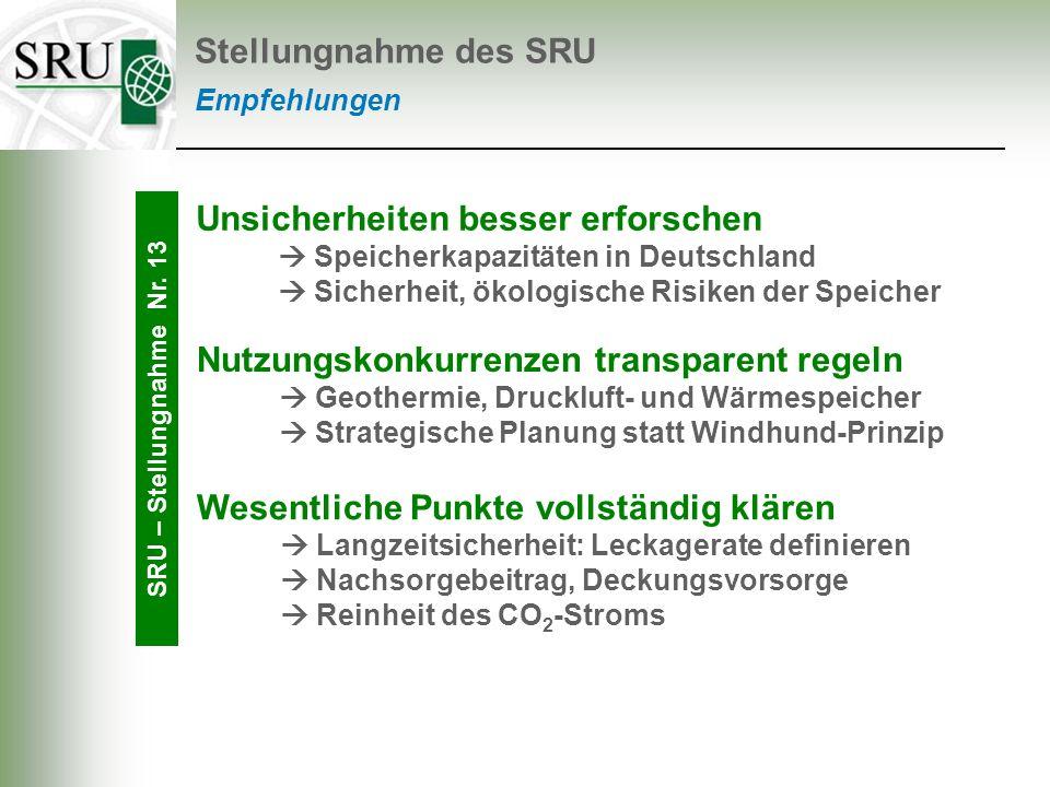 Empfehlungen Stellungnahme des SRU Unsicherheiten besser erforschen Speicherkapazitäten in Deutschland Sicherheit, ökologische Risiken der Speicher SR