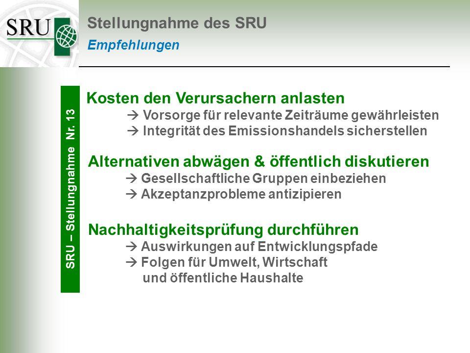 Empfehlungen Stellungnahme des SRU SRU – Stellungnahme Nr. 13 Kosten den Verursachern anlasten Vorsorge für relevante Zeiträume gewährleisten Integrit