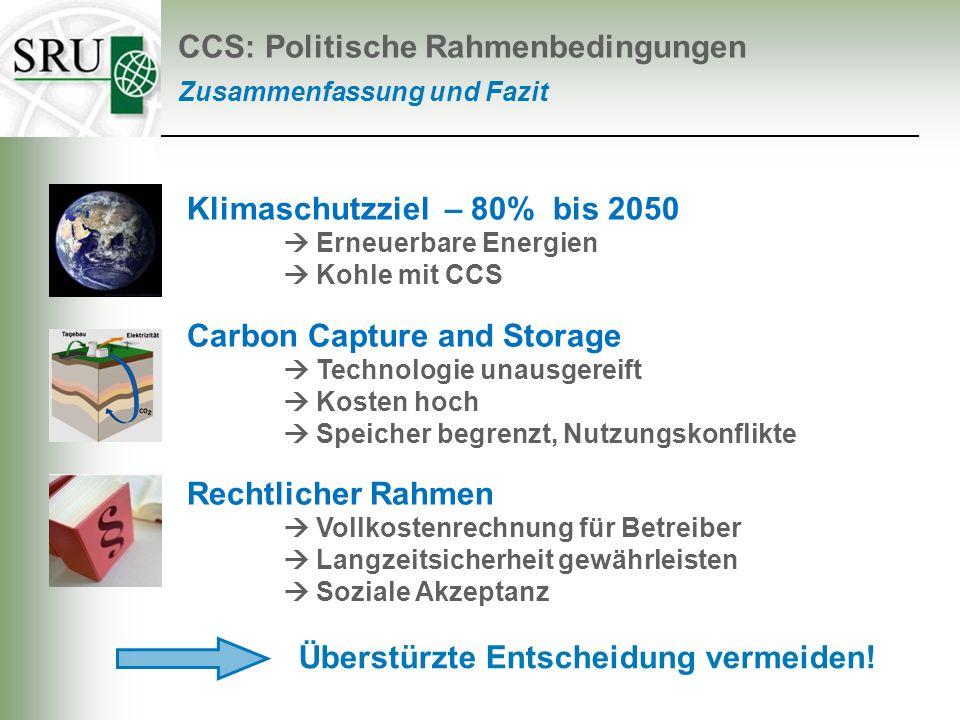 Klimaschutzziel – 80% bis 2050 Erneuerbare Energien Kohle mit CCS Carbon Capture and Storage Technologie unausgereift Kosten hoch Speicher begrenzt, N