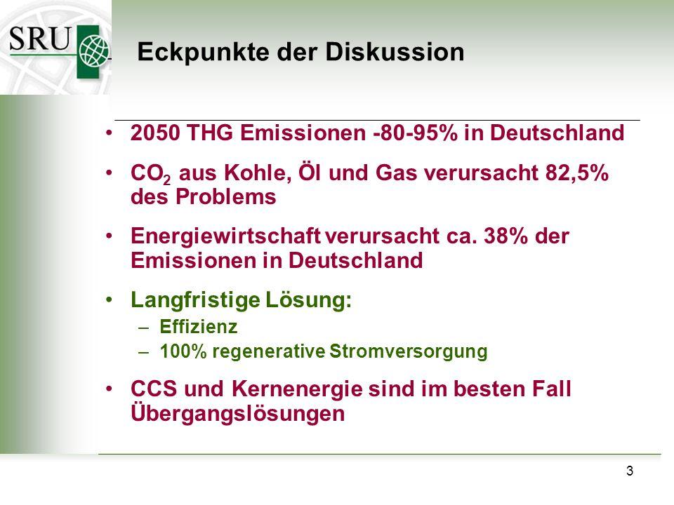3 Eckpunkte der Diskussion 2050 THG Emissionen -80-95% in Deutschland CO 2 aus Kohle, Öl und Gas verursacht 82,5% des Problems Energiewirtschaft verur