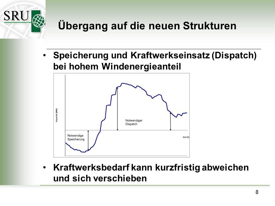 8 Speicherung und Kraftwerkseinsatz (Dispatch) bei hohem Windenergieanteil Kraftwerksbedarf kann kurzfristig abweichen und sich verschieben Übergang auf die neuen Strukturen