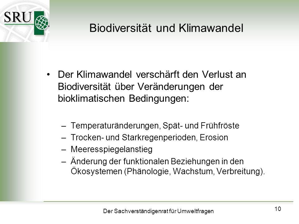 Der Sachverständigenrat für Umweltfragen 10 Biodiversität und Klimawandel Der Klimawandel verschärft den Verlust an Biodiversität über Veränderungen d