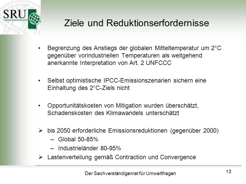 Der Sachverständigenrat für Umweltfragen 13 Ziele und Reduktionserfordernisse Begrenzung des Anstiegs der globalen Mitteltemperatur um 2°C gegenüber v