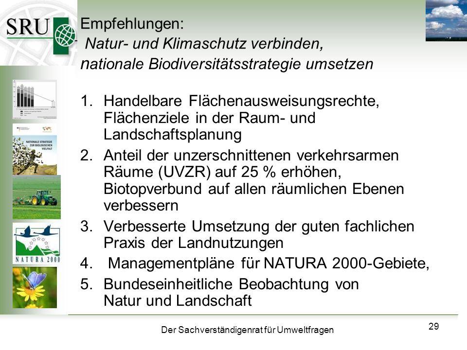 Der Sachverständigenrat für Umweltfragen 29 Empfehlungen: Natur- und Klimaschutz verbinden, n ationale Biodiversitätsstrategie umsetzen 1.Handelbare F