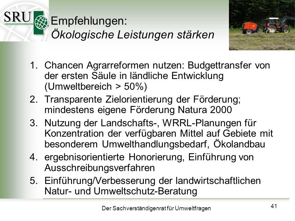 Der Sachverständigenrat für Umweltfragen 41 Empfehlungen: Ökologische Leistungen stärken 1.Chancen Agrarreformen nutzen: Budgettransfer von der ersten