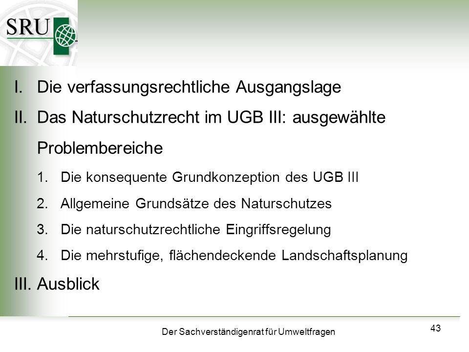 Der Sachverständigenrat für Umweltfragen 43 I.Die verfassungsrechtliche Ausgangslage II.Das Naturschutzrecht im UGB III: ausgewählte Problembereiche 1