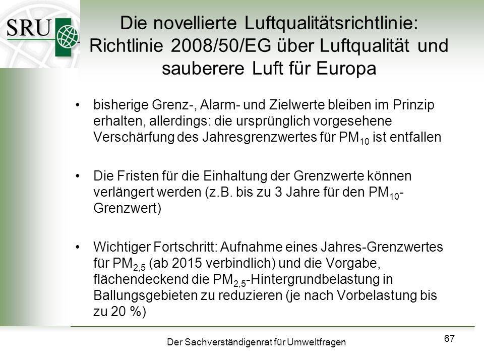 Der Sachverständigenrat für Umweltfragen 67 Die novellierte Luftqualitätsrichtlinie: Richtlinie 2008/50/EG über Luftqualität und sauberere Luft für Eu
