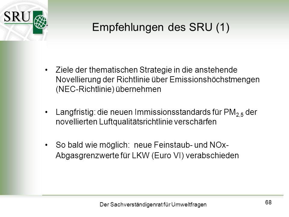 Der Sachverständigenrat für Umweltfragen 68 Empfehlungen des SRU (1) Ziele der thematischen Strategie in die anstehende Novellierung der Richtlinie üb