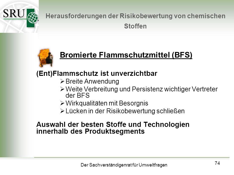 Der Sachverständigenrat für Umweltfragen 74 Herausforderungen der Risikobewertung von chemischen Stoffen Bromierte Flammschutzmittel (BFS) (Ent)Flamms
