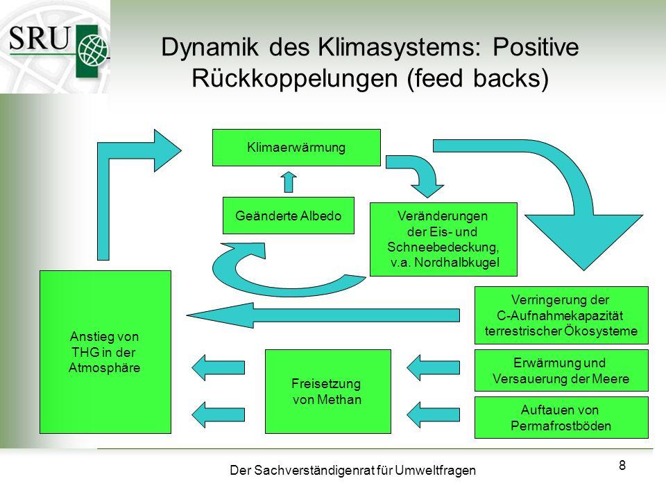 Der Sachverständigenrat für Umweltfragen 8 Dynamik des Klimasystems: Positive Rückkoppelungen (feed backs) Klimaerwärmung Veränderungen der Eis- und S