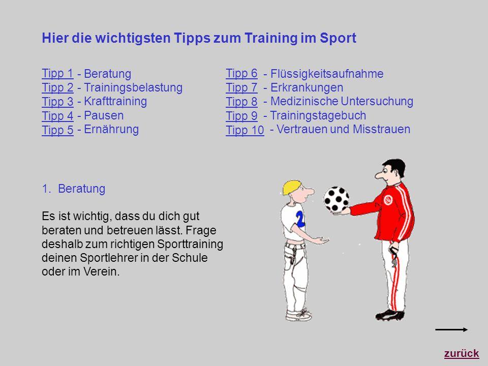 Hier die wichtigsten Tipps zum Training im Sport zurück 1. Beratung Es ist wichtig, dass du dich gut beraten und betreuen lässt. Frage deshalb zum ric