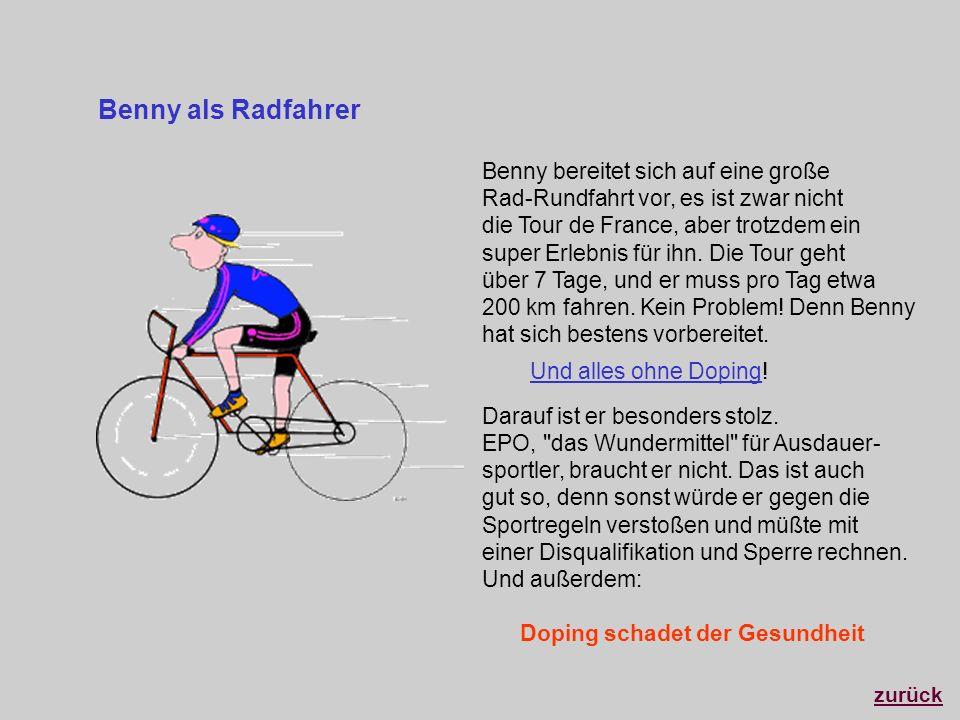 Benny bereitet sich auf eine große Rad-Rundfahrt vor, es ist zwar nicht die Tour de France, aber trotzdem ein super Erlebnis für ihn. Die Tour geht üb