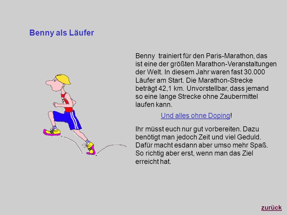 Benny trainiert für den Paris-Marathon, das ist eine der größten Marathon-Veranstaltungen der Welt. In diesem Jahr waren fast 30.000 Läufer am Start.
