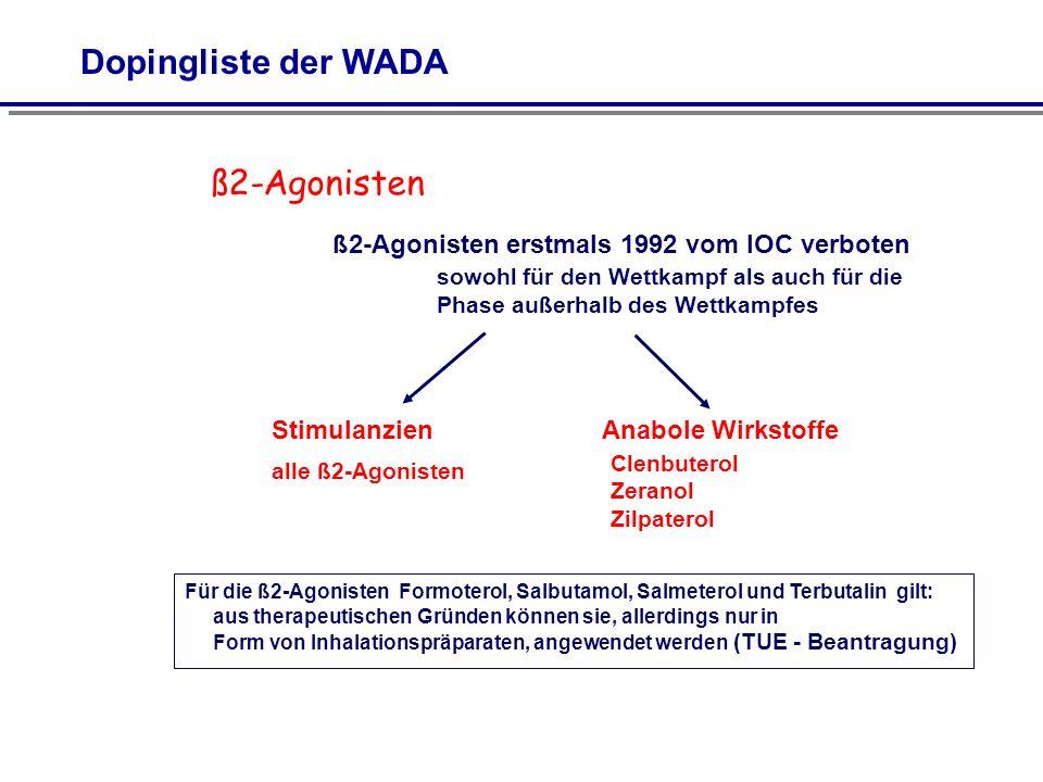 ß2-Agonisten ß2-Agonisten erstmals 1992 vom IOC verboten sowohl für den Wettkampf als auch für die Phase außerhalb des Wettkampfes StimulanzienAnabole Wirkstoffe alle ß2-Agonisten Clenbuterol Zeranol Zilpaterol Für die ß2-Agonisten Formoterol, Salbutamol, Salmeterol und Terbutalin gilt: aus therapeutischen Gründen können sie, allerdings nur in Form von Inhalationspräparaten, angewendet werden (TUE - Beantragung)