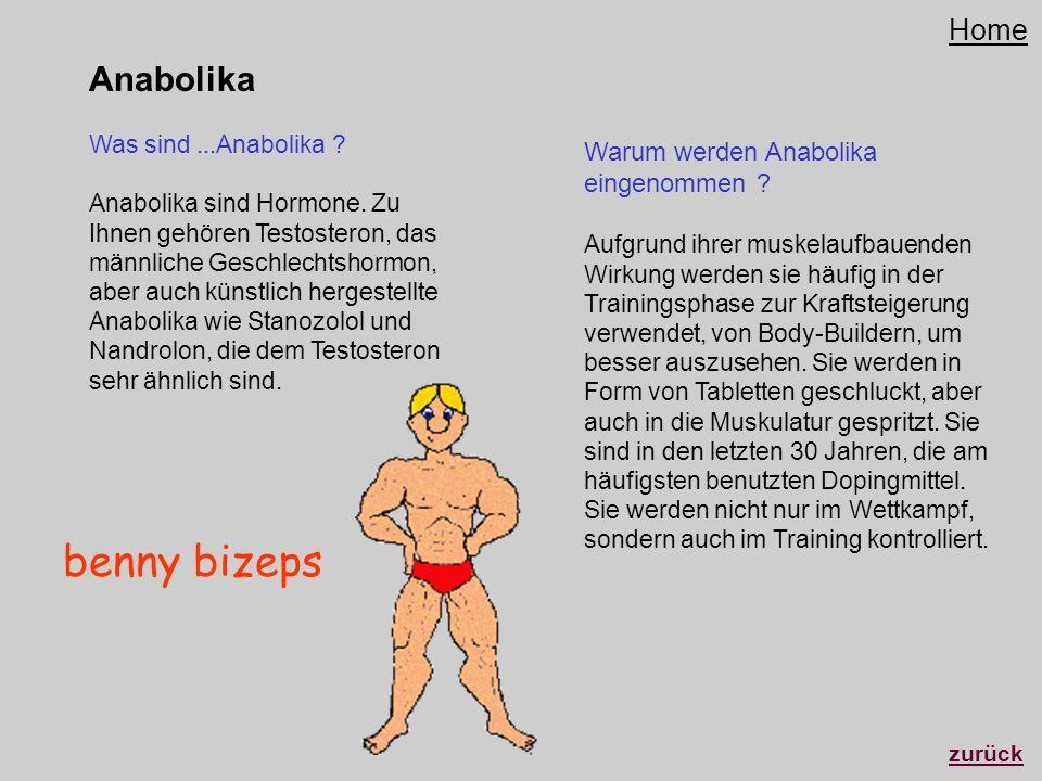 Anabolika Was sind...Anabolika ? Anabolika sind Hormone. Zu Ihnen gehören Testosteron, das männliche Geschlechtshormon, aber auch künstlich hergestell