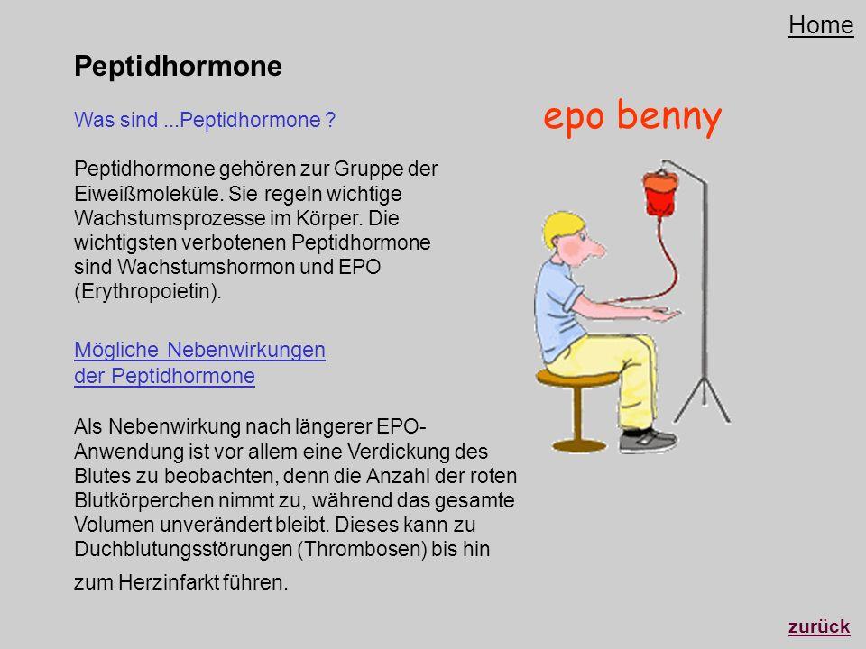 Peptidhormone Mögliche Nebenwirkungen der Peptidhormone Als Nebenwirkung nach längerer EPO- Anwendung ist vor allem eine Verdickung des Blutes zu beob