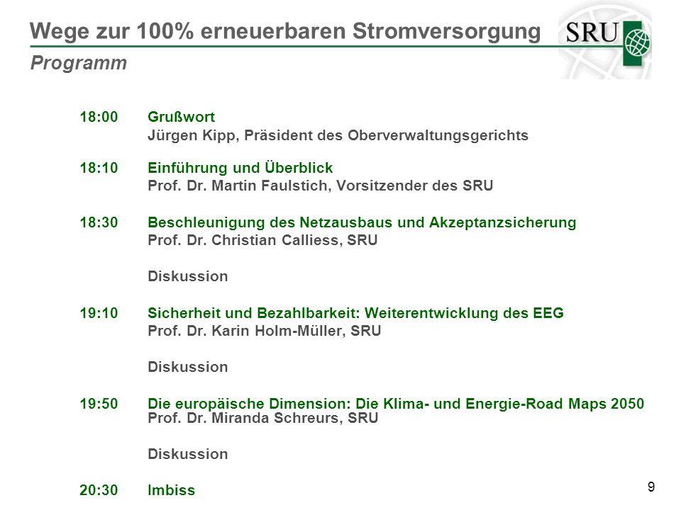 40 Klares Bekenntnis zur Reduktion der THG um 80- 95% bis 2050 durch Europäischen Rat (zuletzt: 4/2/2011) Wegweisend: Entwurf für eine Roadmap for moving to a low carbon economy in 2050: 93-99% CO2-Verminderung für den Stromsektor Jetzt ehrgeizige Klimaschutzziele für 2020 formulieren Langfristig denken: Verankerung des Klimaschutzziels über 2030 hinaus Anpassung der Instrumente, insbesondere Emissionshandel Klimaschutzziele und Roadmaps