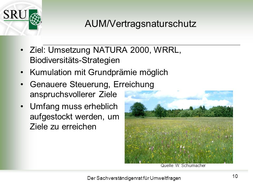 Der Sachverständigenrat für Umweltfragen AUM/Vertragsnaturschutz Ziel: Umsetzung NATURA 2000, WRRL, Biodiversitäts-Strategien Kumulation mit Grundprämie möglich Genauere Steuerung, Erreichung anspruchsvollerer Ziele Umfang muss erheblich aufgestockt werden, um um Ziele zu erreichen 10 Quelle: W.