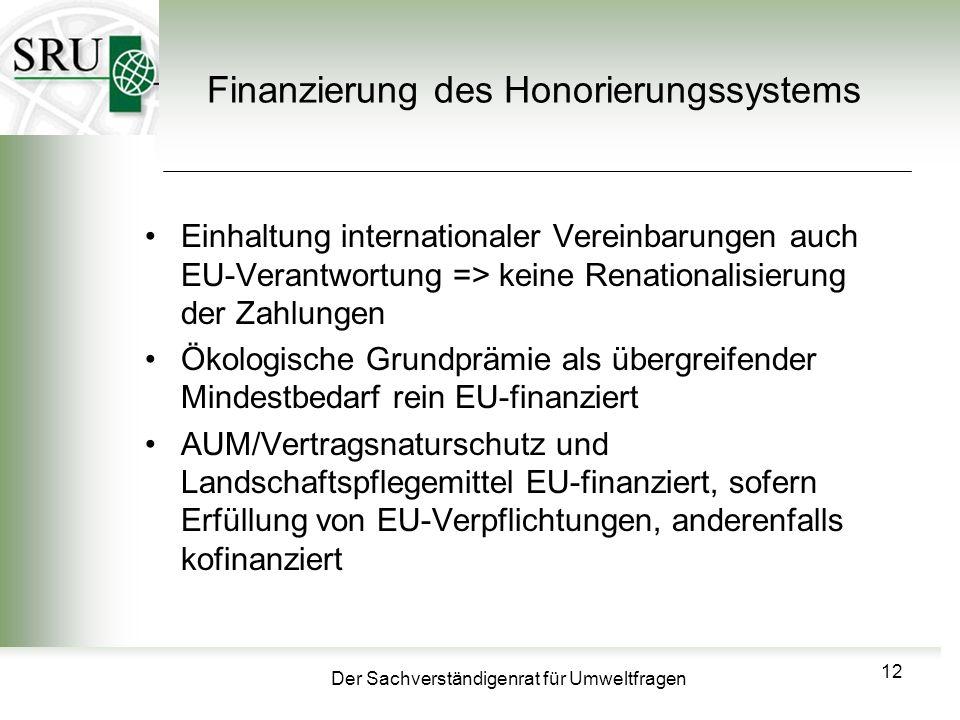 Der Sachverständigenrat für Umweltfragen Finanzierung des Honorierungssystems Einhaltung internationaler Vereinbarungen auch EU-Verantwortung => keine Renationalisierung der Zahlungen Ökologische Grundprämie als übergreifender Mindestbedarf rein EU-finanziert AUM/Vertragsnaturschutz und Landschaftspflegemittel EU-finanziert, sofern Erfüllung von EU-Verpflichtungen, anderenfalls kofinanziert 12