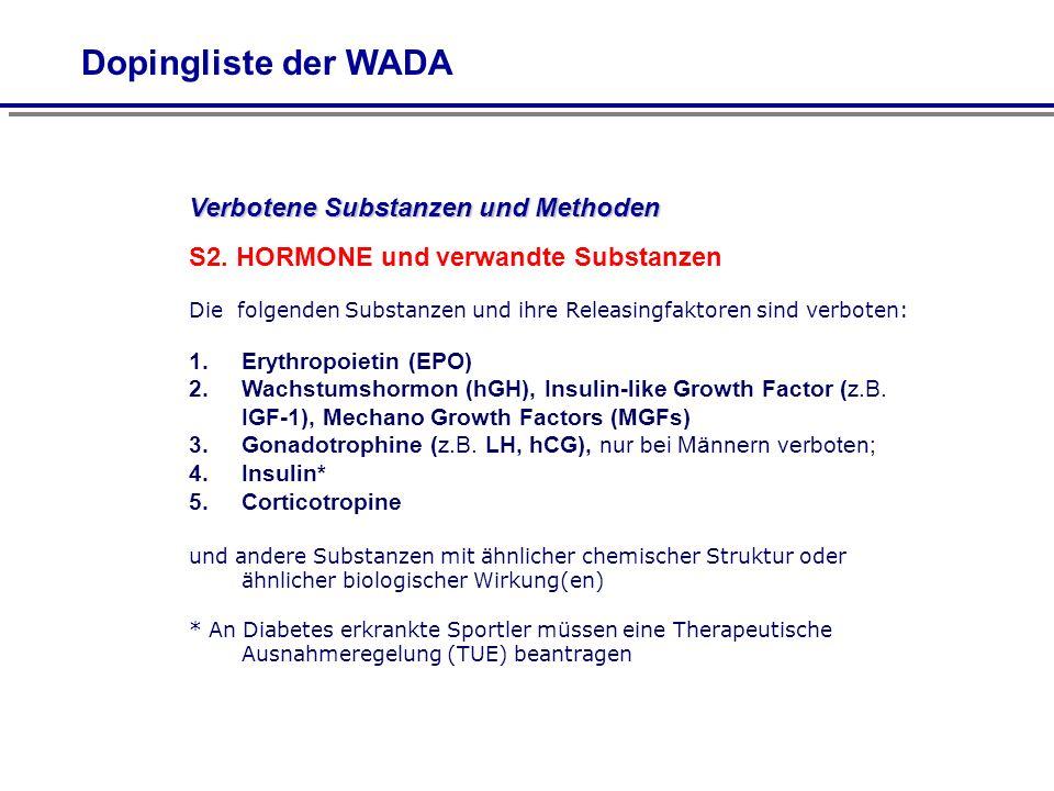Verbotene Substanzen und Methoden S2. HORMONE und verwandte Substanzen Die folgenden Substanzen und ihre Releasingfaktoren sind verboten: 1.Erythropoi