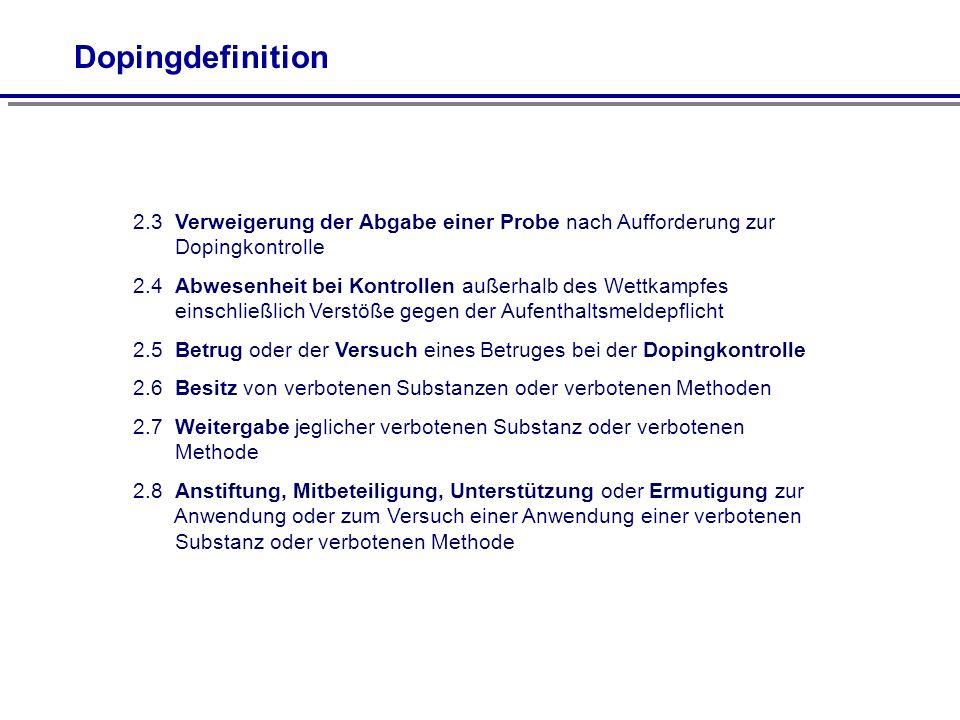 2.3 Verweigerung der Abgabe einer Probe nach Aufforderung zur Dopingkontrolle 2.4 Abwesenheit bei Kontrollen außerhalb des Wettkampfes einschließlich