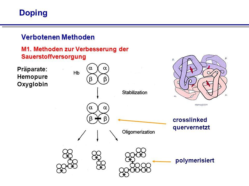 Doping Verbotenen Methoden M1. Methoden zur Verbesserung der Sauerstoffversorgung crosslinked quervernetzt polymerisiert Präparate: Hemopure Oxyglobin