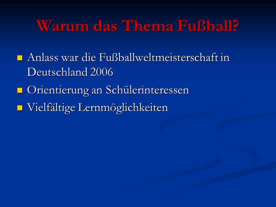 Warum das Thema Fußball? Anlass war die Fußballweltmeisterschaft in Deutschland 2006 Anlass war die Fußballweltmeisterschaft in Deutschland 2006 Orien