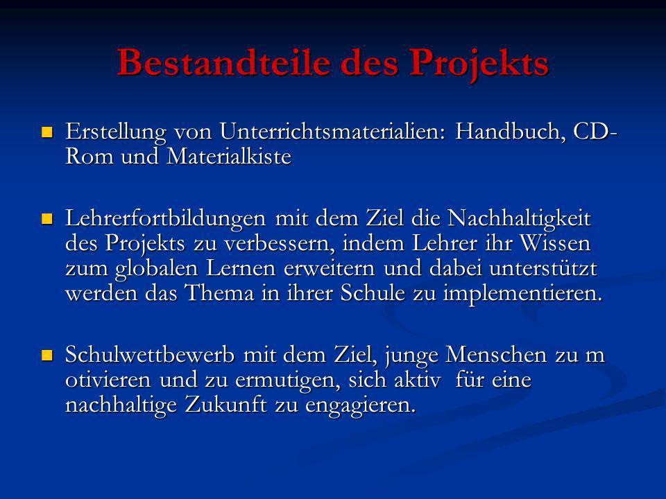 Bestandteile des Projekts Erstellung von Unterrichtsmaterialien: Handbuch, CD- Rom und Materialkiste Erstellung von Unterrichtsmaterialien: Handbuch,