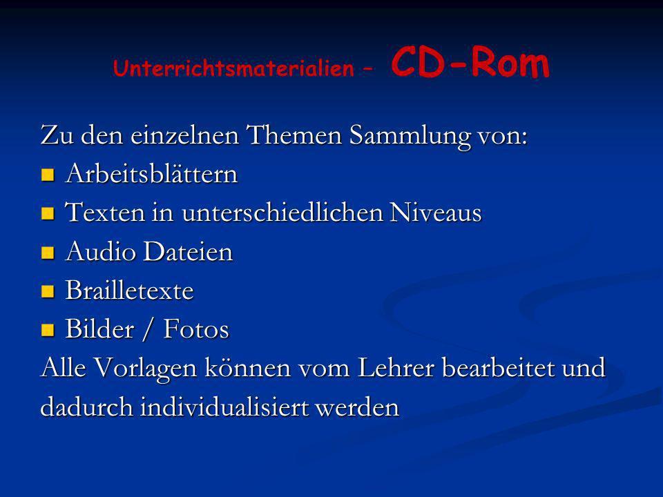 Unterrichtsmaterialien – CD-Rom Zu den einzelnen Themen Sammlung von: Arbeitsblättern Arbeitsblättern Texten in unterschiedlichen Niveaus Texten in un