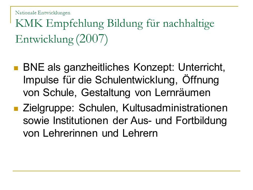 Nationale Entwicklungen KMK Empfehlung Bildung für nachhaltige Entwicklung (2007) BNE als ganzheitliches Konzept: Unterricht, Impulse für die Schulent