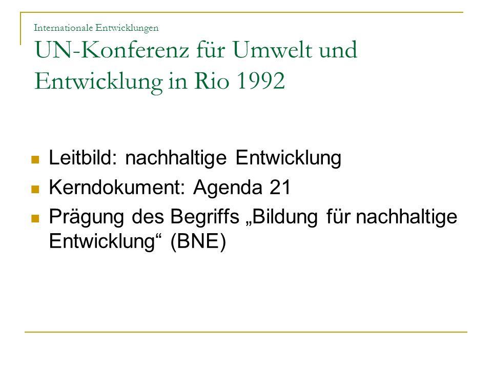 Internationale Entwicklungen UN-Konferenz für Umwelt und Entwicklung in Rio 1992 Leitbild: nachhaltige Entwicklung Kerndokument: Agenda 21 Prägung des