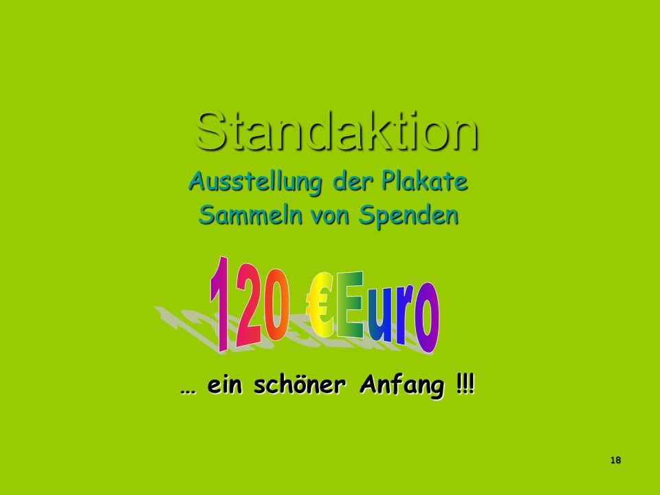 18 Standaktion Ausstellung der Plakate Sammeln von Spenden … ein schöner Anfang !!!