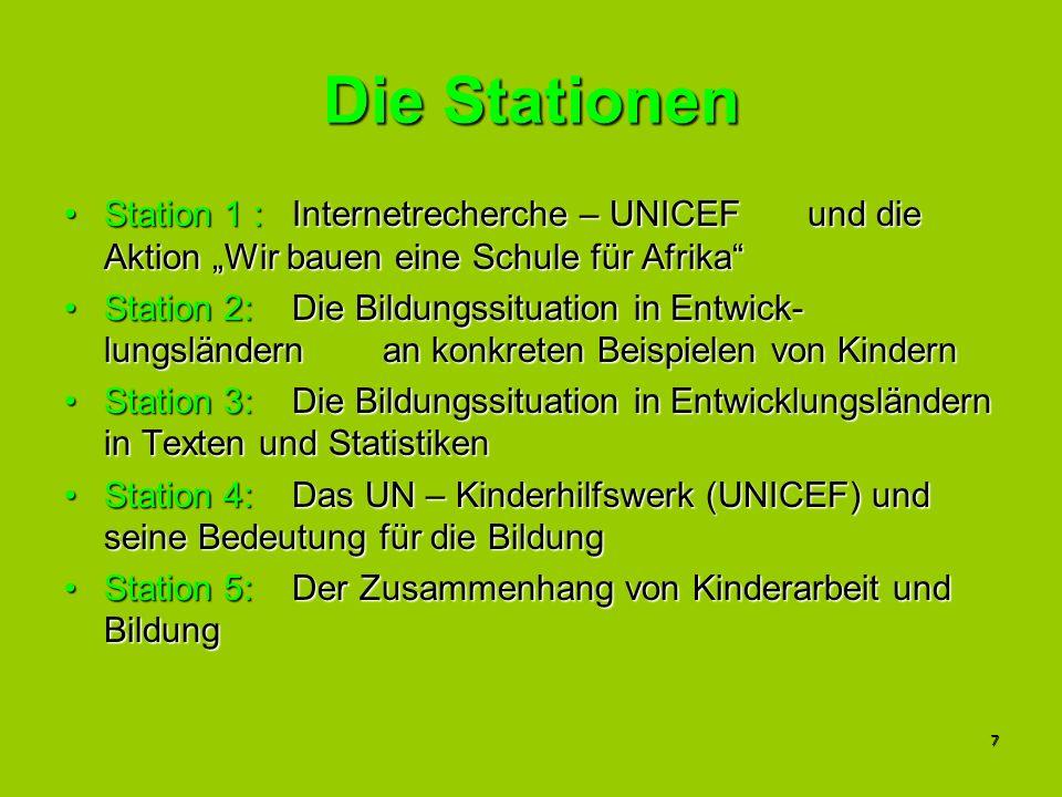 7 Die Stationen Station 1 : Internetrecherche – UNICEF und die Aktion Wir bauen eine Schule für AfrikaStation 1 : Internetrecherche – UNICEF und die A