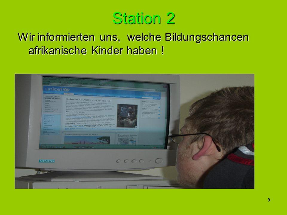 10 Station 3 Hier machten wir uns mit Hilfe des Globalisierungs- atlas´ein Bild über die weltweite Bildungssituation!Hier machten wir uns mit Hilfe des Globalisierungs- atlas´ein Bild über die weltweite Bildungssituation.