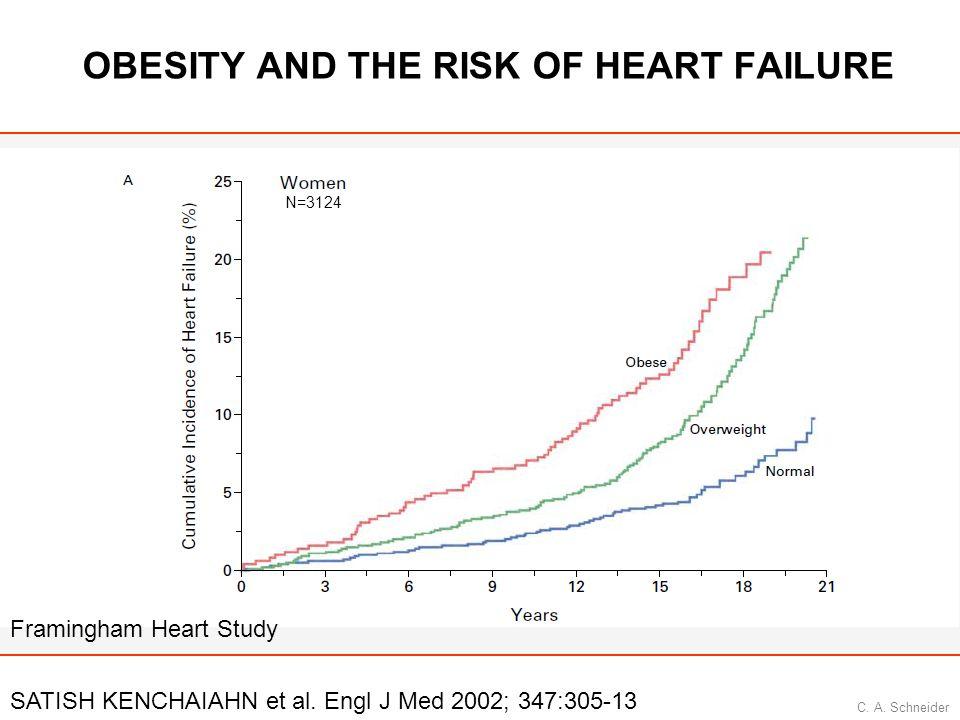 C. A. Schneider OBESITY AND THE RISK OF HEART FAILURE SATISH KENCHAIAHN et al. Engl J Med 2002; 347:305-13 Framingham Heart Study N=3124