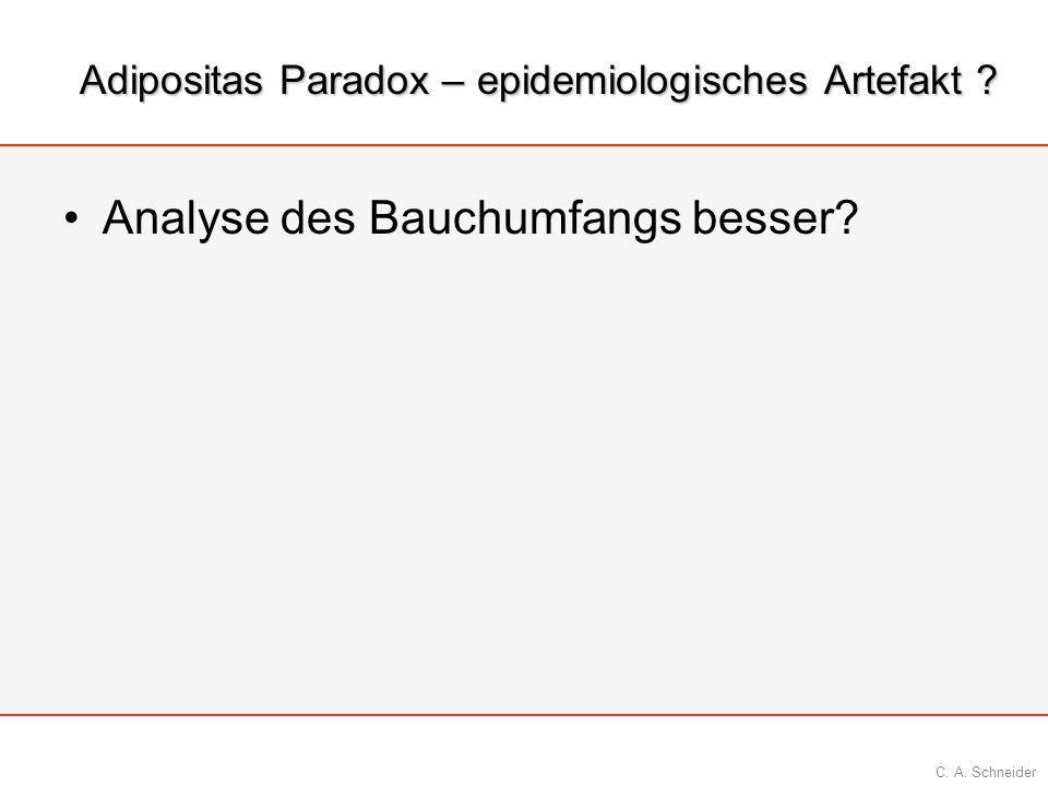 C. A. Schneider Adipositas Paradox – epidemiologisches Artefakt ? Analyse des Bauchumfangs besser?
