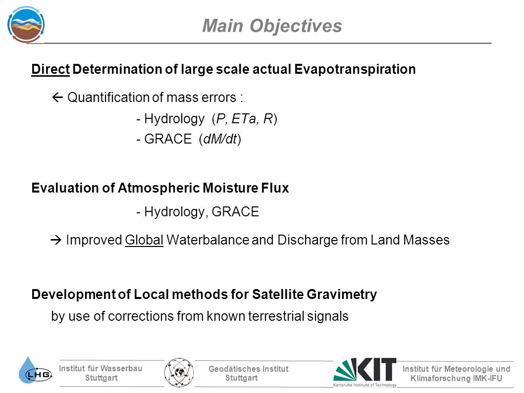 Institut für Wasserbau Stuttgart Geodätisches Institut Stuttgart Institut für Meteorologie und Klimaforschung IMK-IFU Spatial Distribution of Temporal Correlation of Residuals between Catchments (River OB versus different catchments, for time periods where ETa <~ 15mm /mo ) Spatial Correlation : GRACE GRACE