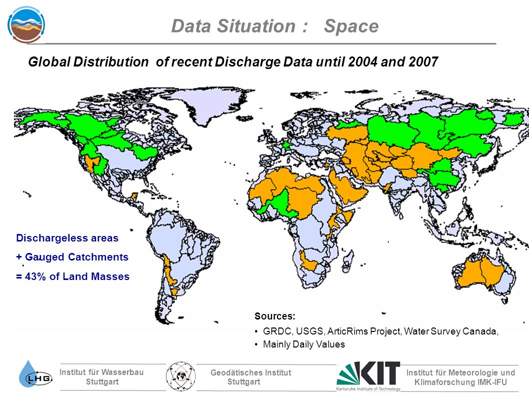 Institut für Wasserbau Stuttgart Geodätisches Institut Stuttgart Institut für Meteorologie und Klimaforschung IMK-IFU Sources: GRDC, USGS, ArticRims Project, Water Survey Canada, Mainly Daily Values Global Distribution of recent Discharge Data until 2004 and 2007 Data Situation : Space Dischargeless areas + Gauged Catchments = 43% of Land Masses