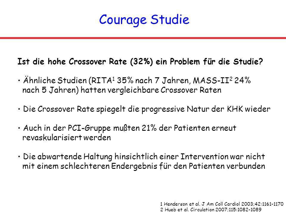 Courage Studie Ist die hohe Crossover Rate (32%) ein Problem für die Studie? Ähnliche Studien (RITA 1 35% nach 7 Jahren, MASS-II 2 24% nach 5 Jahren)