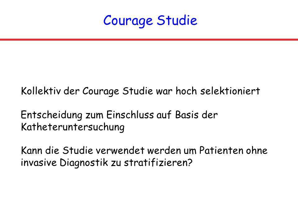 Courage Studie Kollektiv der Courage Studie war hoch selektioniert Entscheidung zum Einschluss auf Basis der Katheteruntersuchung Kann die Studie verw