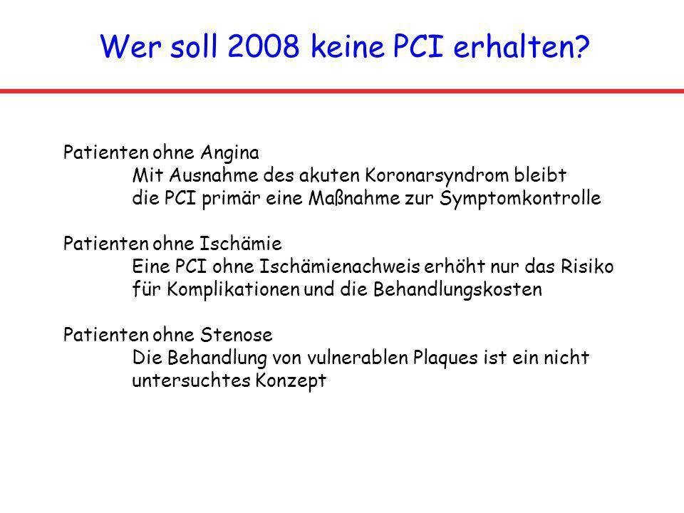 Wer soll 2008 keine PCI erhalten? Patienten ohne Angina Mit Ausnahme des akuten Koronarsyndrom bleibt die PCI primär eine Maßnahme zur Symptomkontroll