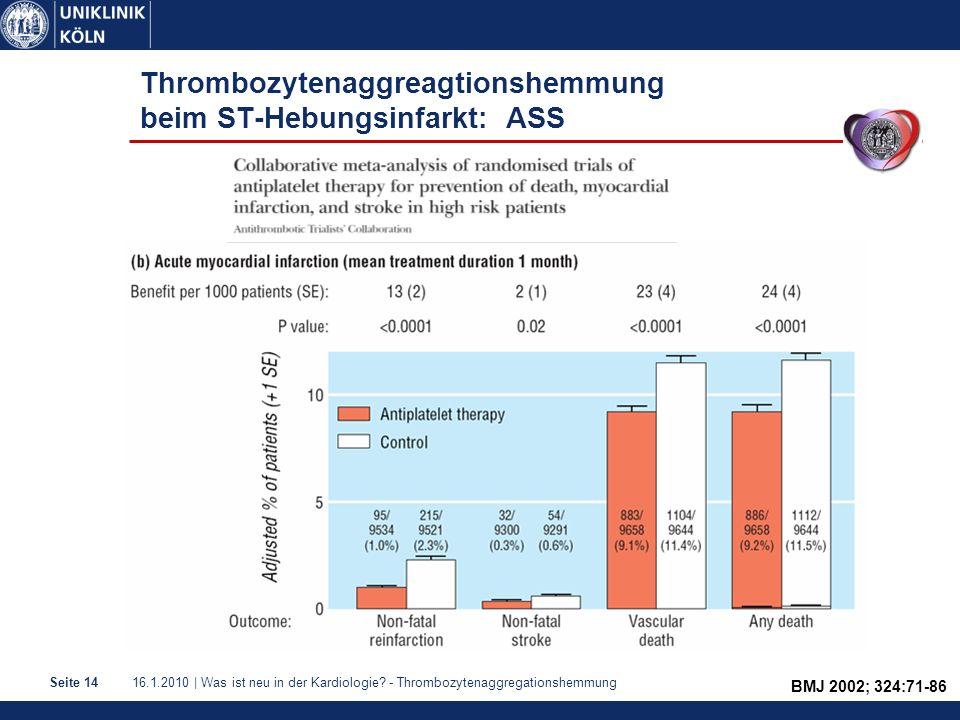 16.1.2010 | Was ist neu in der Kardiologie? - ThrombozytenaggregationshemmungSeite 14 Thrombozytenaggreagtionshemmung beim ST-Hebungsinfarkt: ASS BMJ