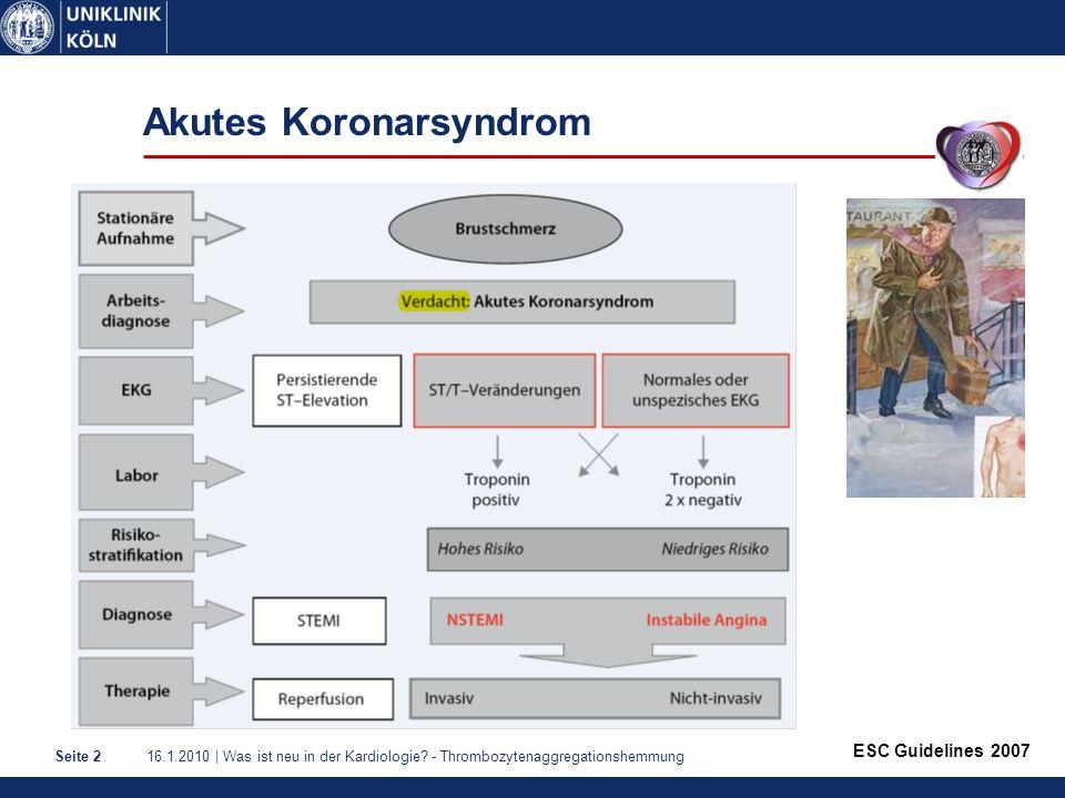 16.1.2010 | Was ist neu in der Kardiologie? - ThrombozytenaggregationshemmungSeite 2 Akutes Koronarsyndrom ESC Guidelines 2007