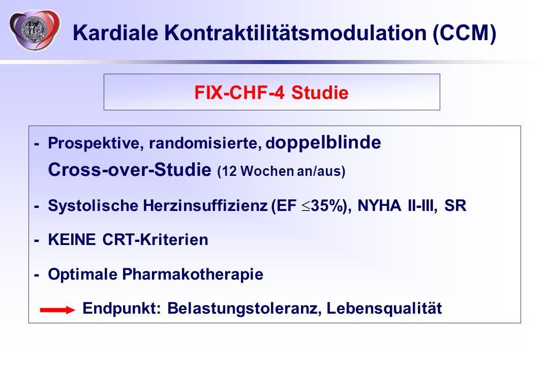 Kardiale Kontraktilitätsmodulation (CCM) - Prospektive, randomisierte, d oppelblinde Cross-over-Studie (12 Wochen an/aus) -Systolische Herzinsuffizien